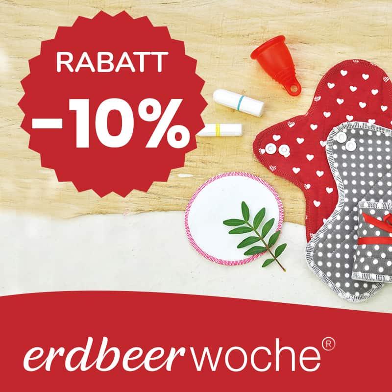10% Rabatt auf alle nachhaltigen Monatshygiene Produkte im erdbeerwoche Online Shop
